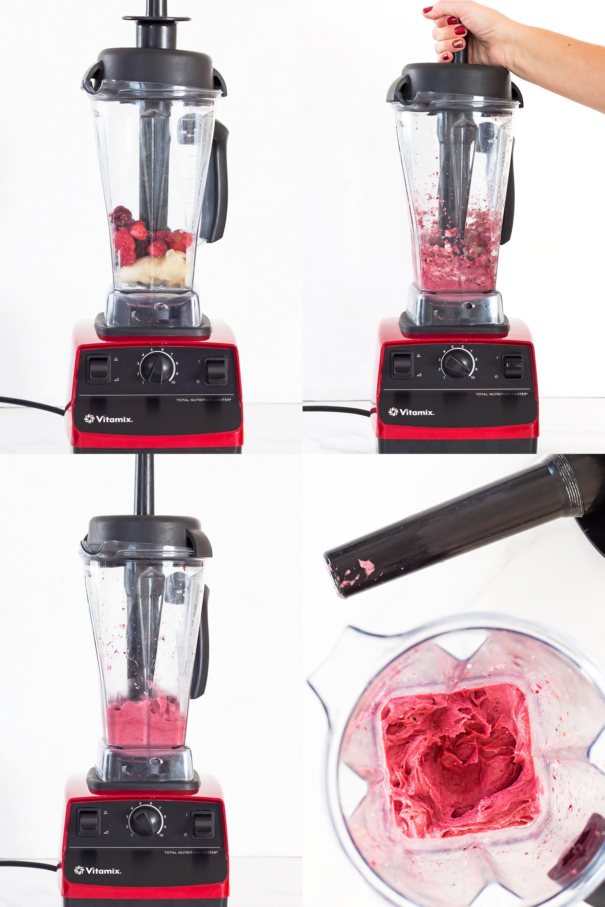 Making Strawberry Nice Cream in Vitamix