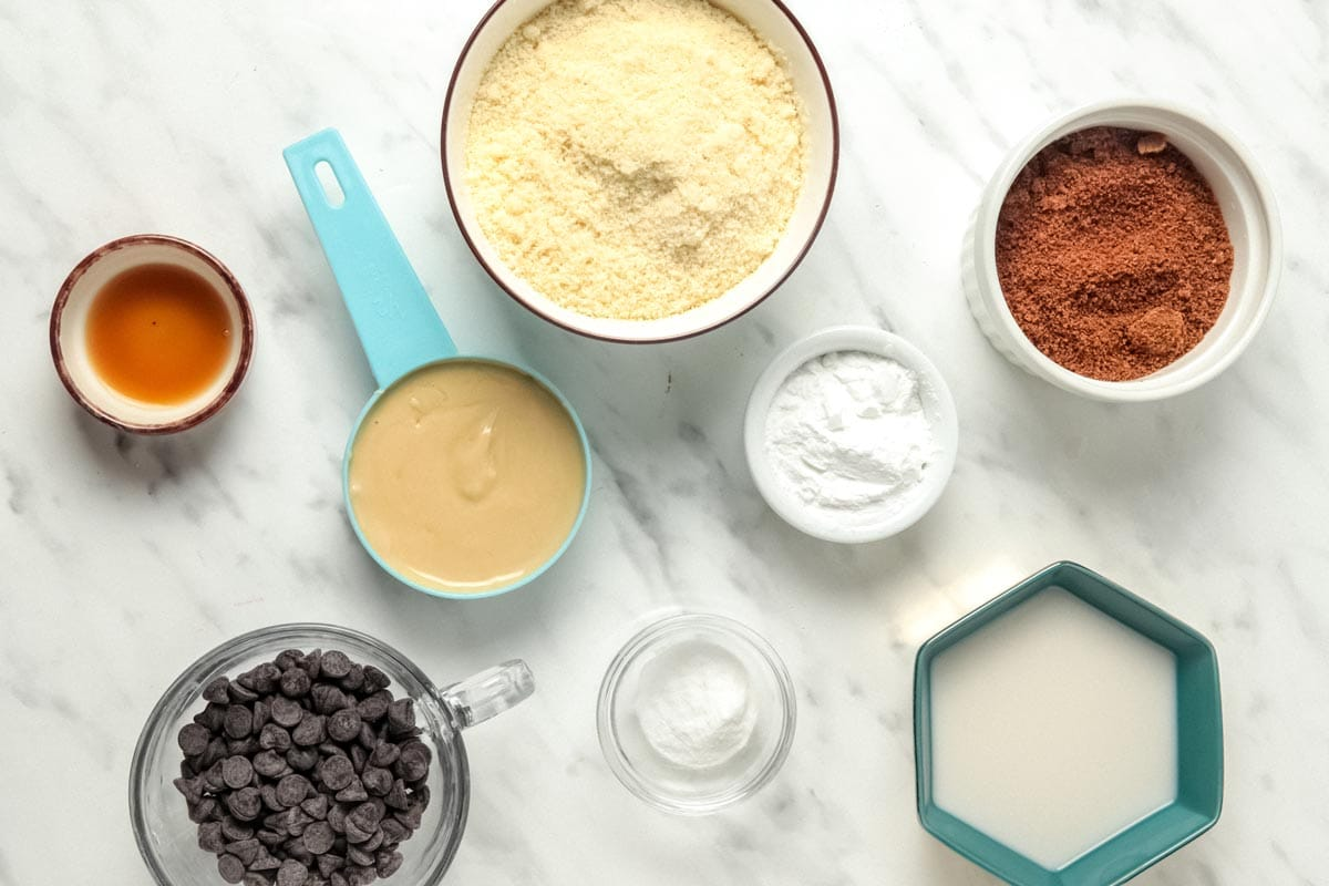 Ingredients for Almond Flour Chocolate Chip Cookies