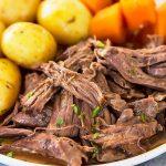 Pot Roast with gravy, potatoes, and carrots