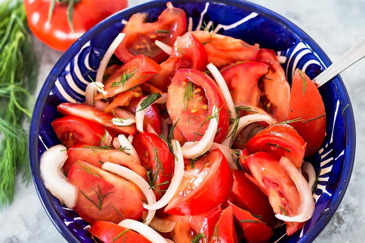 Uzbek Tomato Onion Salad for Plov