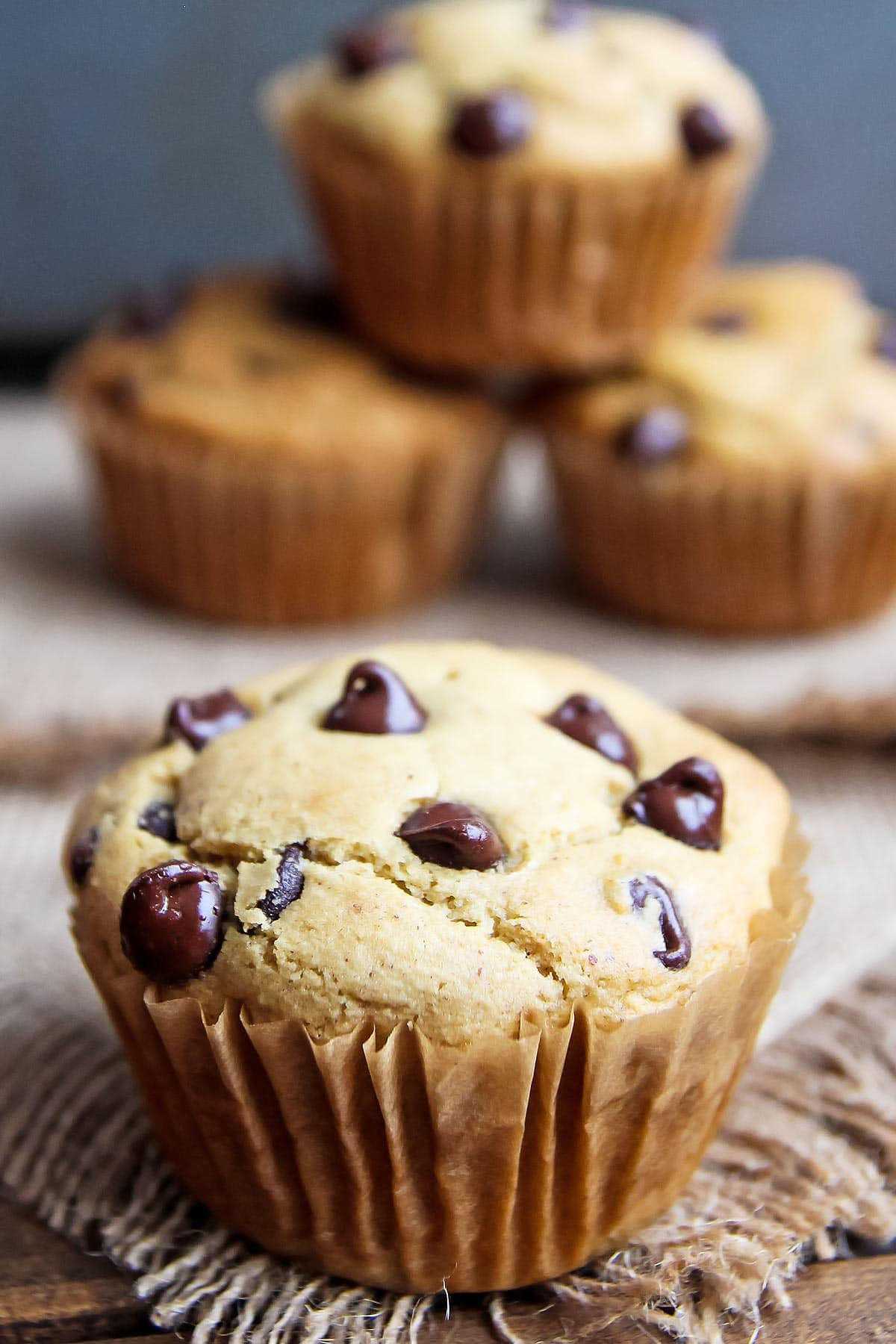 Coconut Flour Peanut Butter Muffins with chocolate chips
