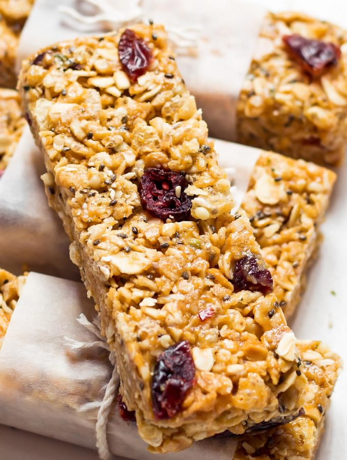 Healthy Homemade Granola Bars with seeds and dried fruit