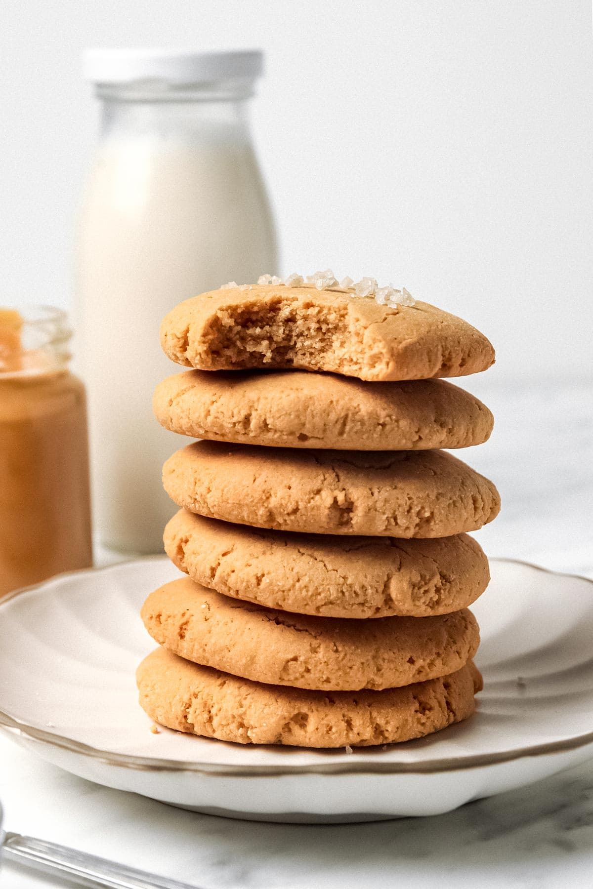 Stack of Keto Coconut Flour Peanut Butter Cookies