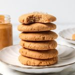 Low Carb Peanut Butter Cookies stacked on plate