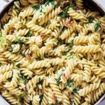 Bacon Spinach Pasta in Pan