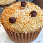 Coconut Nut Butter Muffin with chocolate chip topping