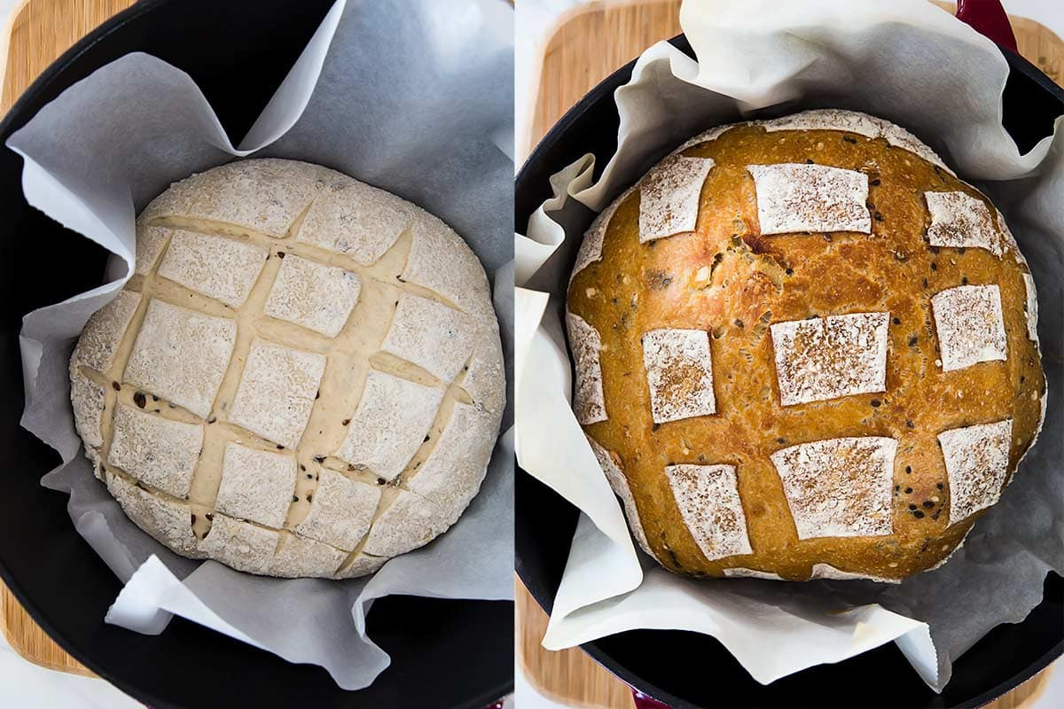 Dutch oven sourdough bread before and after baking