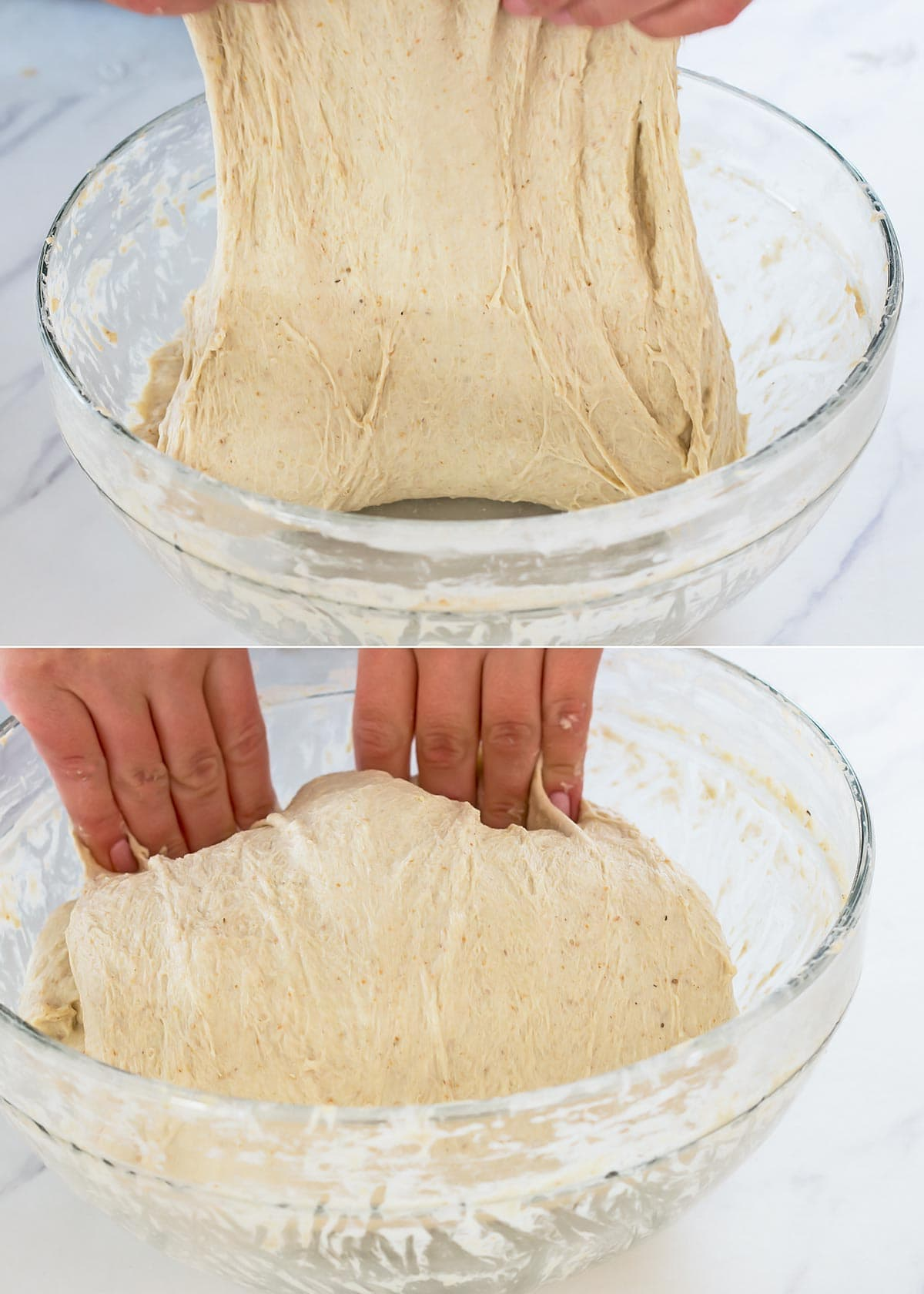 Stretching and folding sourdough during bulk fermentation