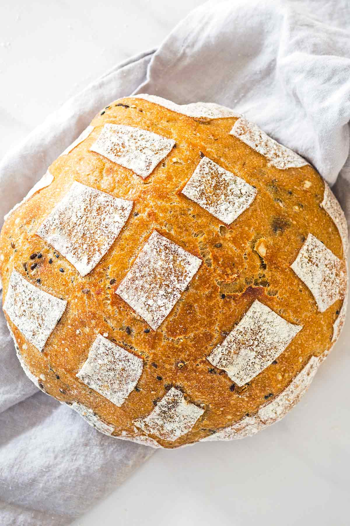 Easy Sourdough Bread with seeds