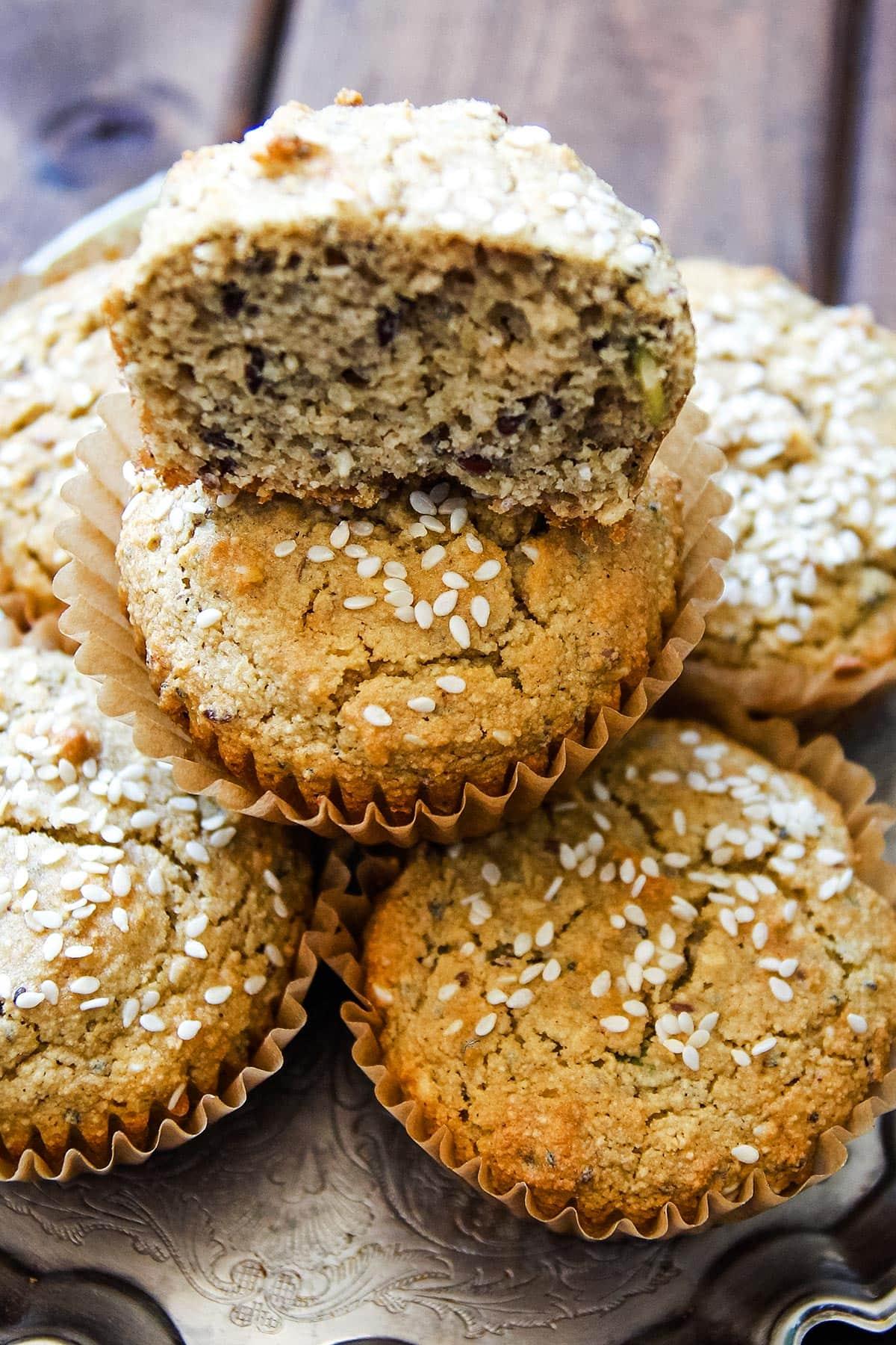 Gluten Free Tahini Muffins on tray