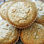 Tahini Muffins with sesame topping on silver tray