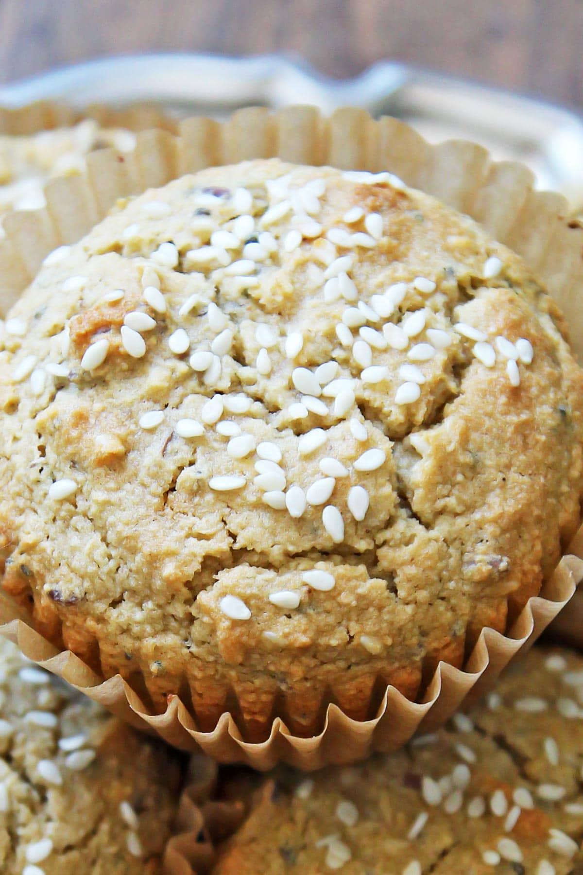 Closeup Tahini muffin with sesame sprinkle on top