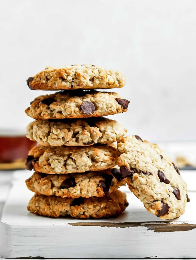 Stack of coconut flour oatmeal chocolate chip cookies