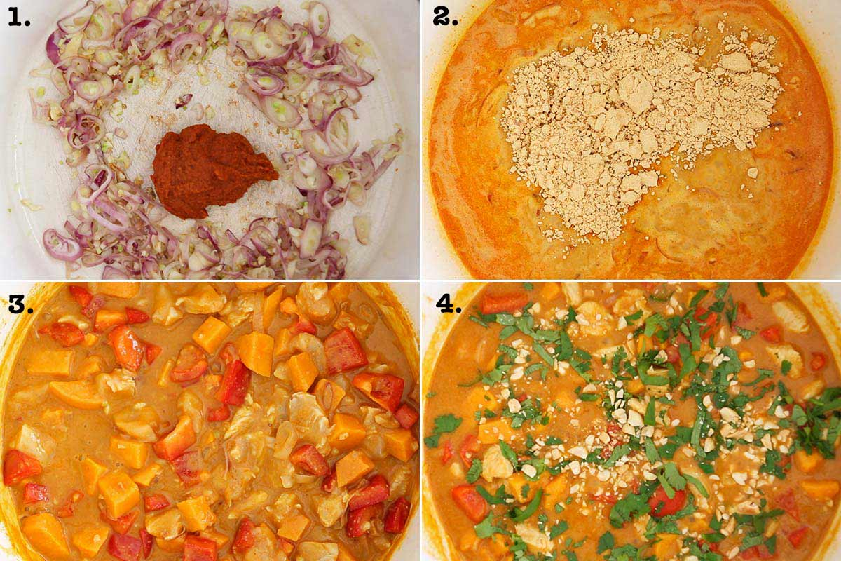 Step by step pictures of how to make peanut curry sauce
