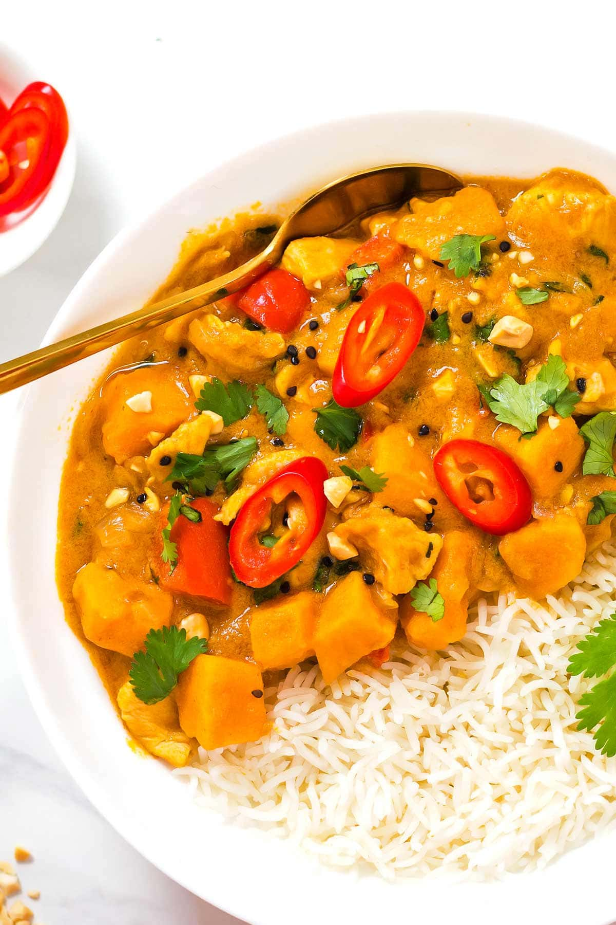 Panang Peanut Curry in bowl with rice