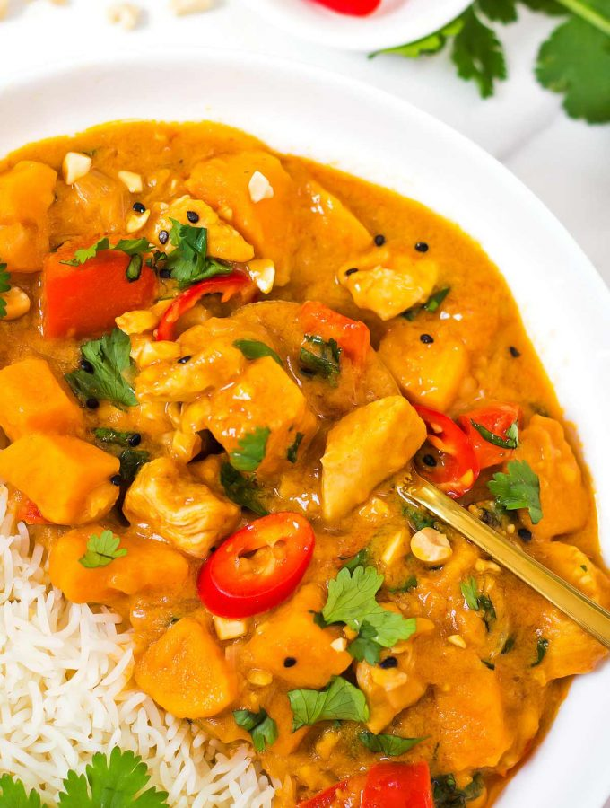 Thai Peanut Butter Curry in bowl with rice
