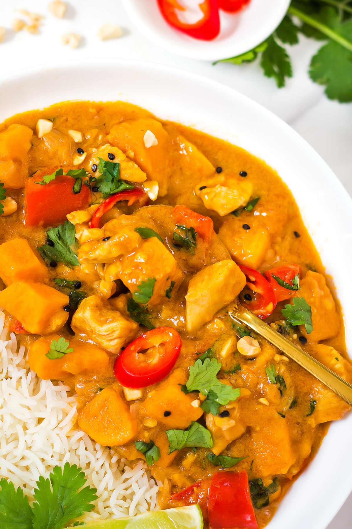 Peanut Butter Curry in bowl with rice