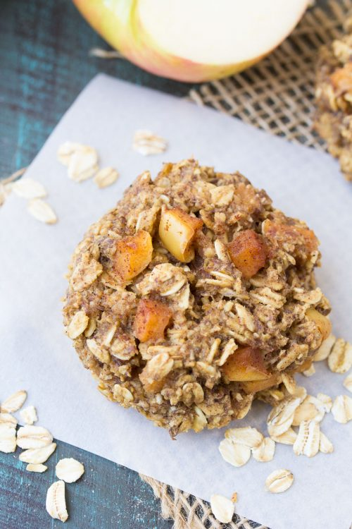 oatmeal apple cookies on parchment paper