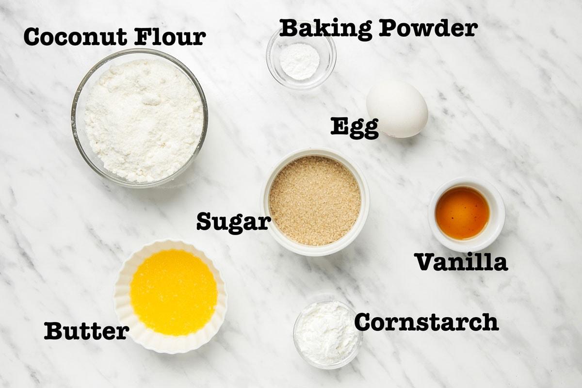 Ingredients for Coconut Flour Sugar Cookies