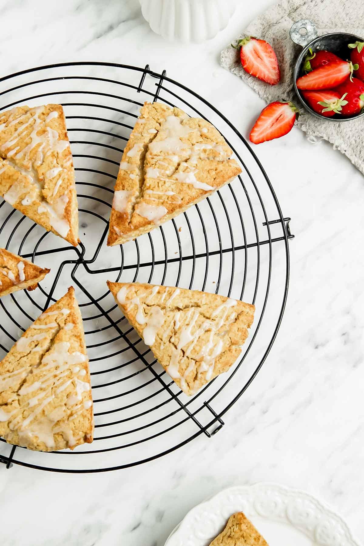 Gluten free scones on wire rack