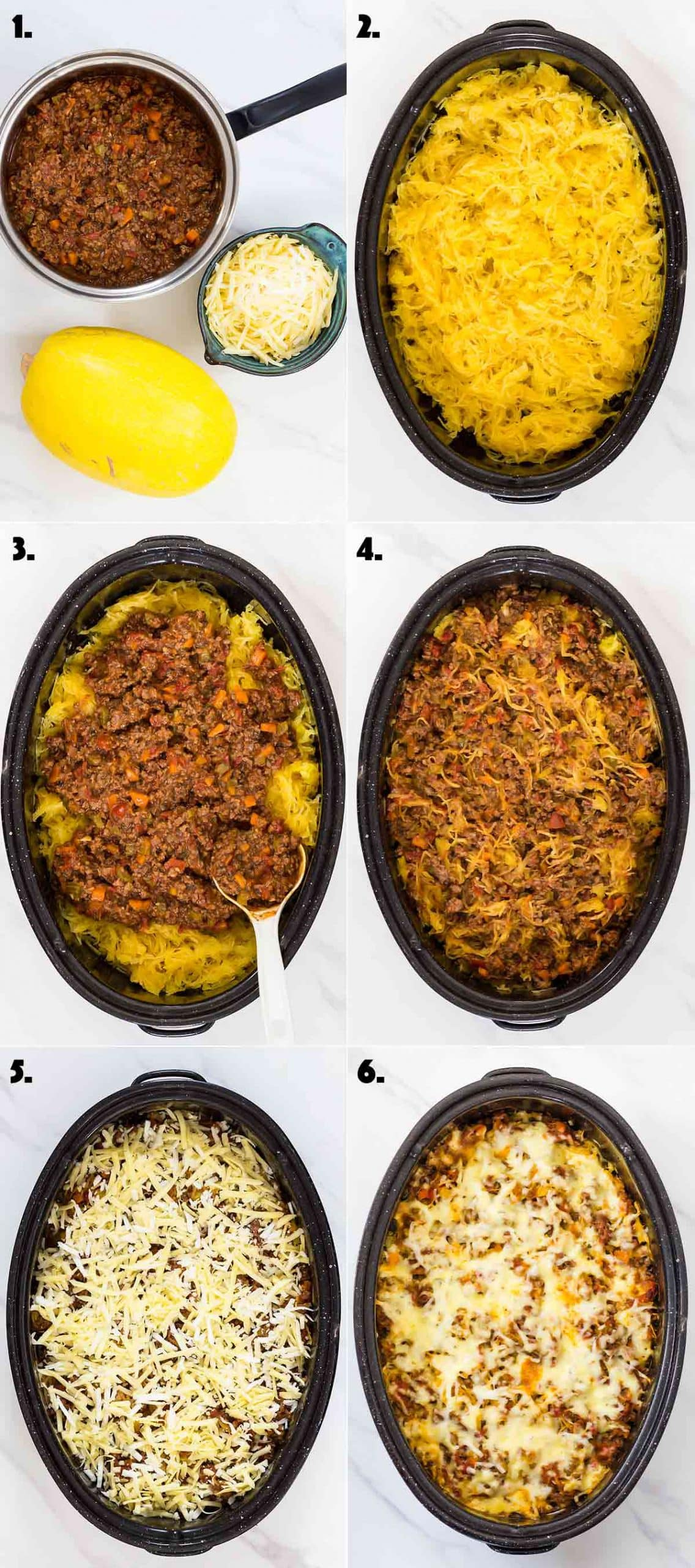 6 pictures showing step of how to make spaghetti squash casserole