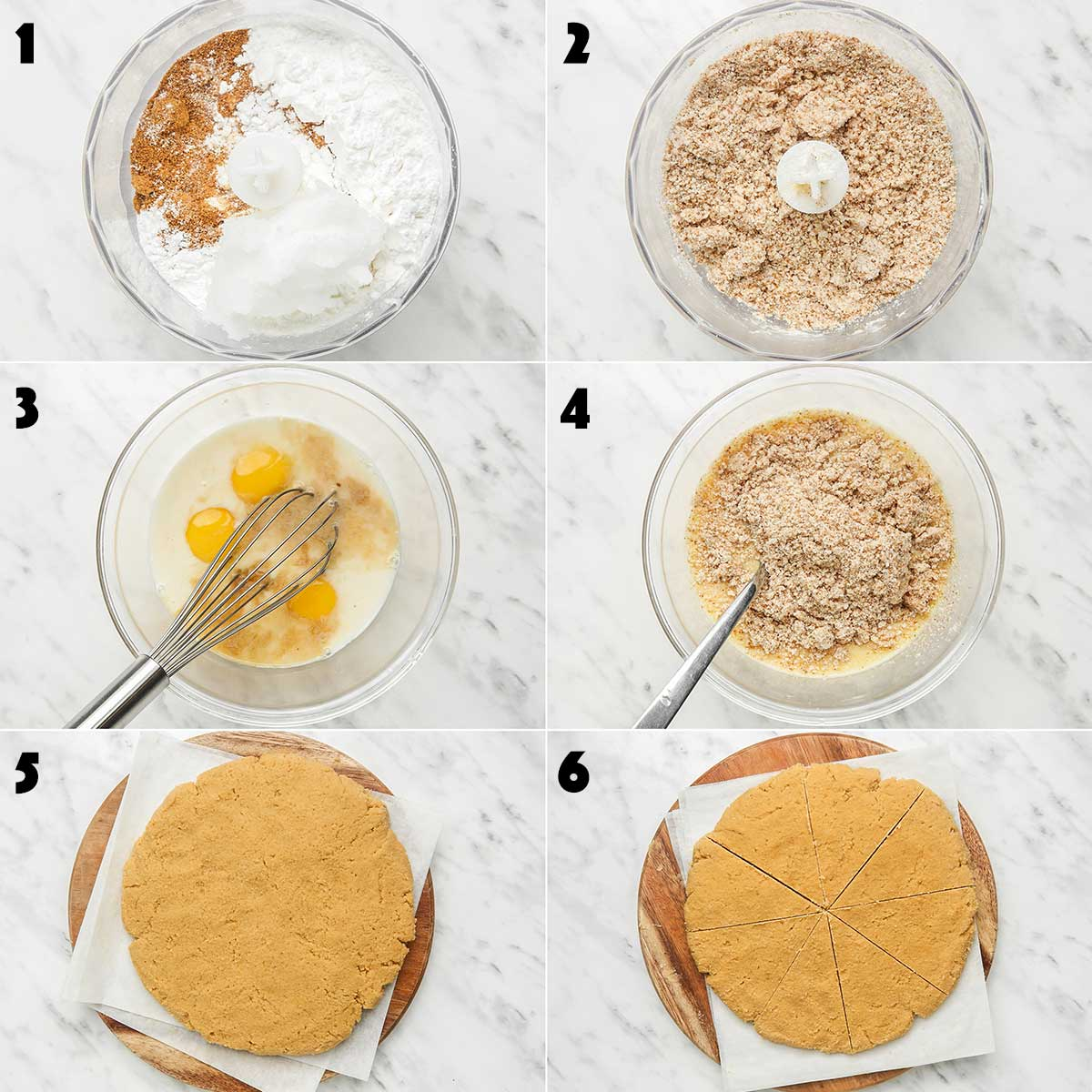 Step by step collage of how to make coconut flour scones