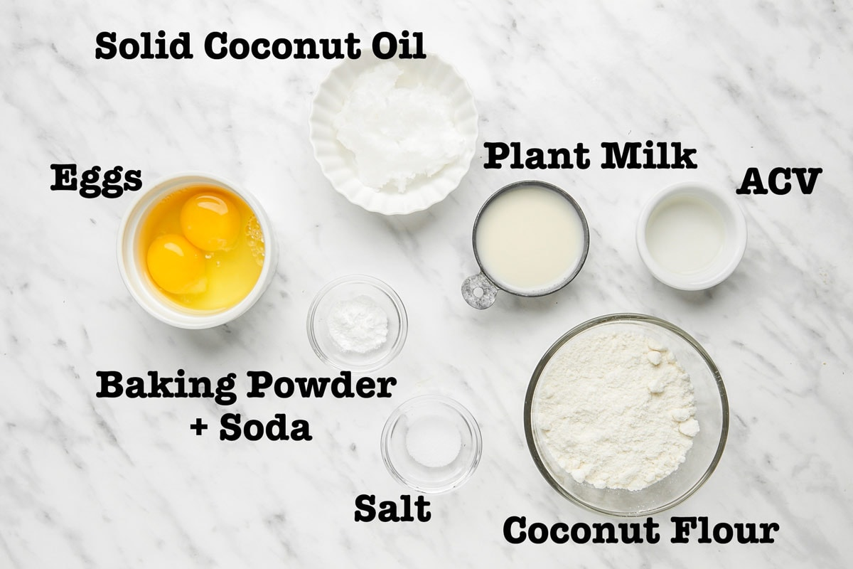 Ingredients for Coconut Flour Biscuits arranged in small bowls