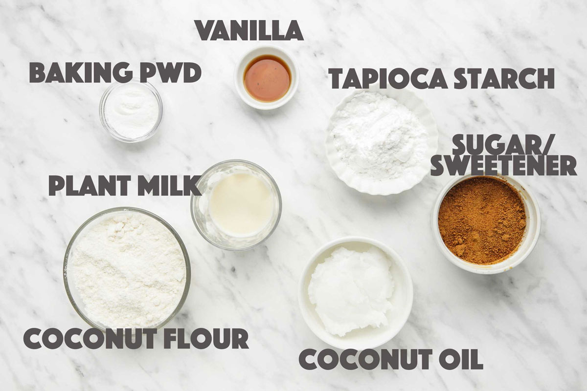 Ingredients for scones made with coconut flour