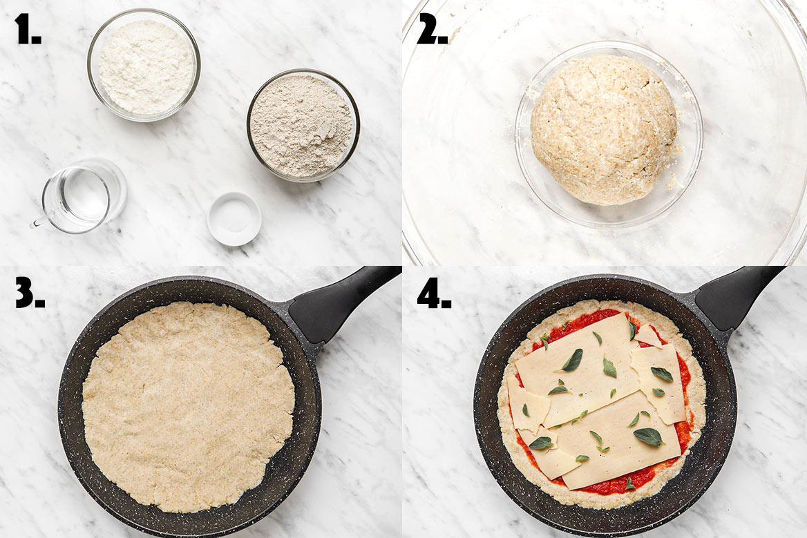 4 steps showing how to make coconut flour pizza crust