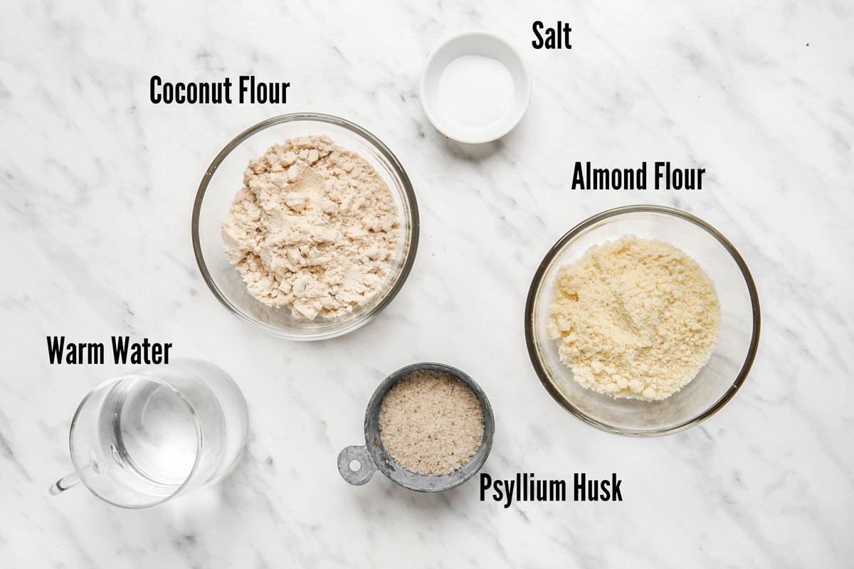 Ingredients for coconut flour tortillas