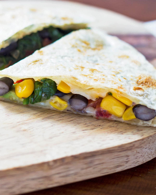 Black bean and corn quesadilla triangle