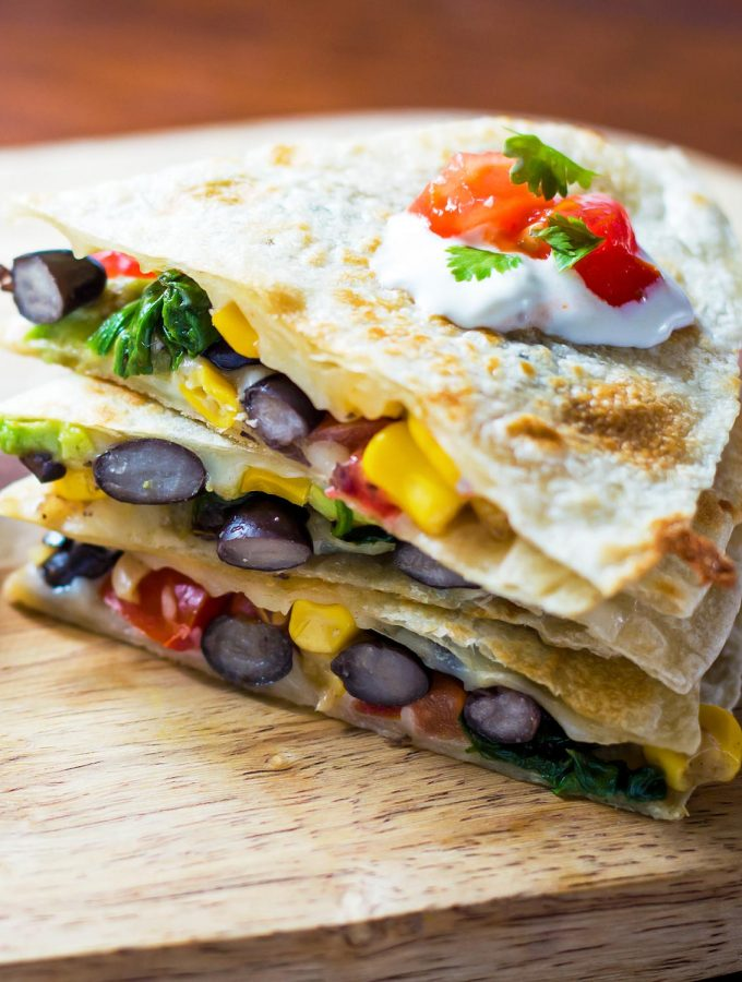 Stack of Black Bean Spinach Quesadilla Triangles