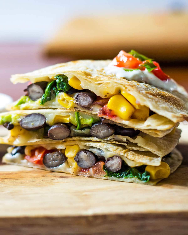 Stack of 3 Black Bean Quesadillas