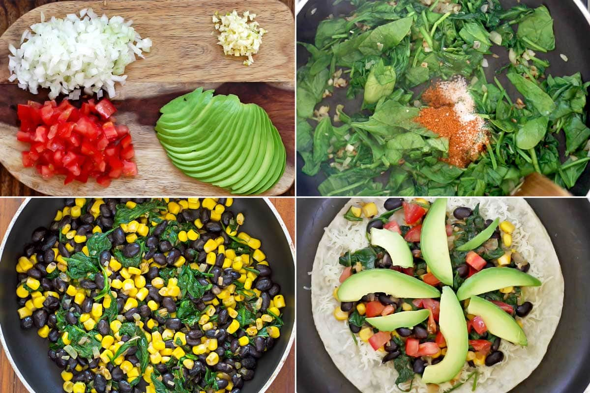 4 steps of hoe to make black bean quesadillas